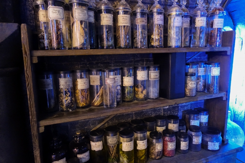 Shelf of bottles at the Potions classroom