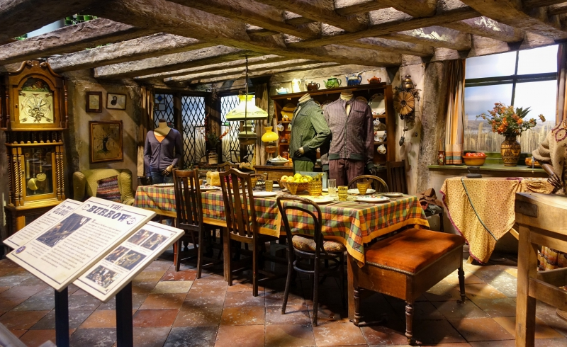 The Weasleys' kitchen at the Burrow