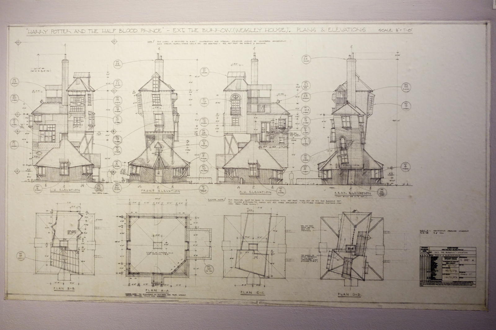 Architectural drawings for Harry Potter films