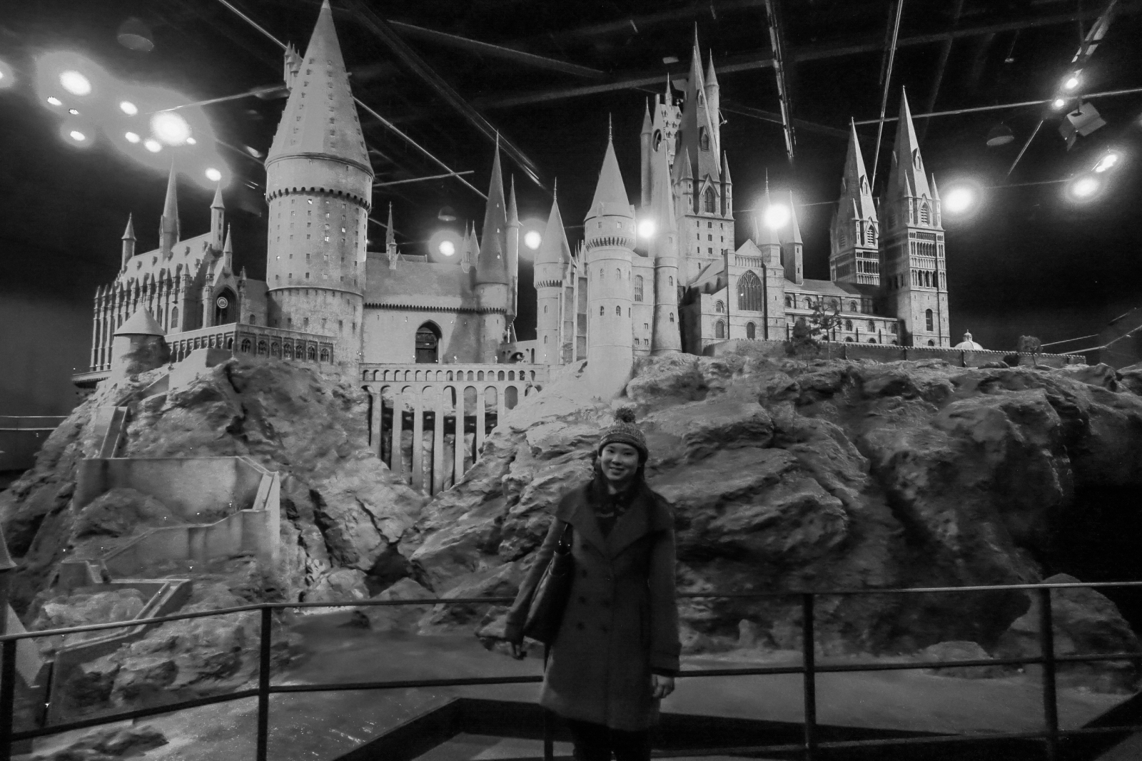 Me in front of Hogwarts scale model