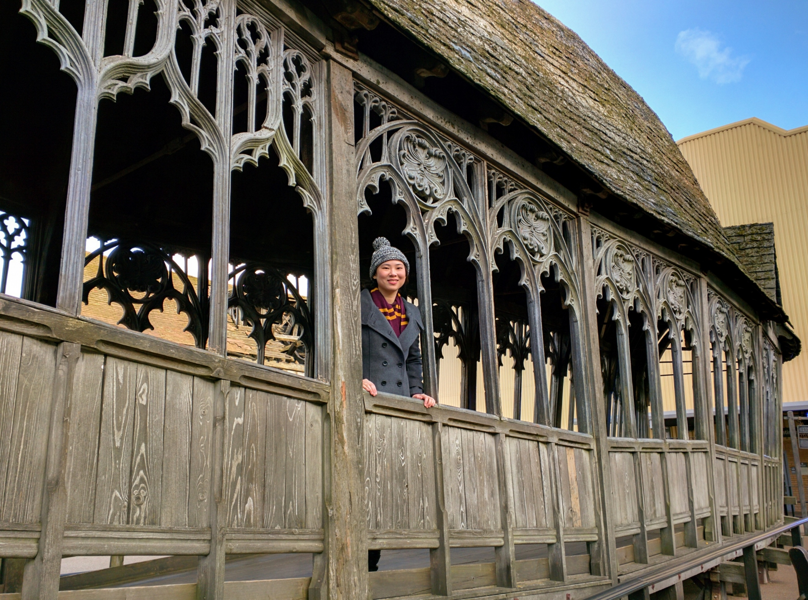 Me at Hogwarts wooden bridge