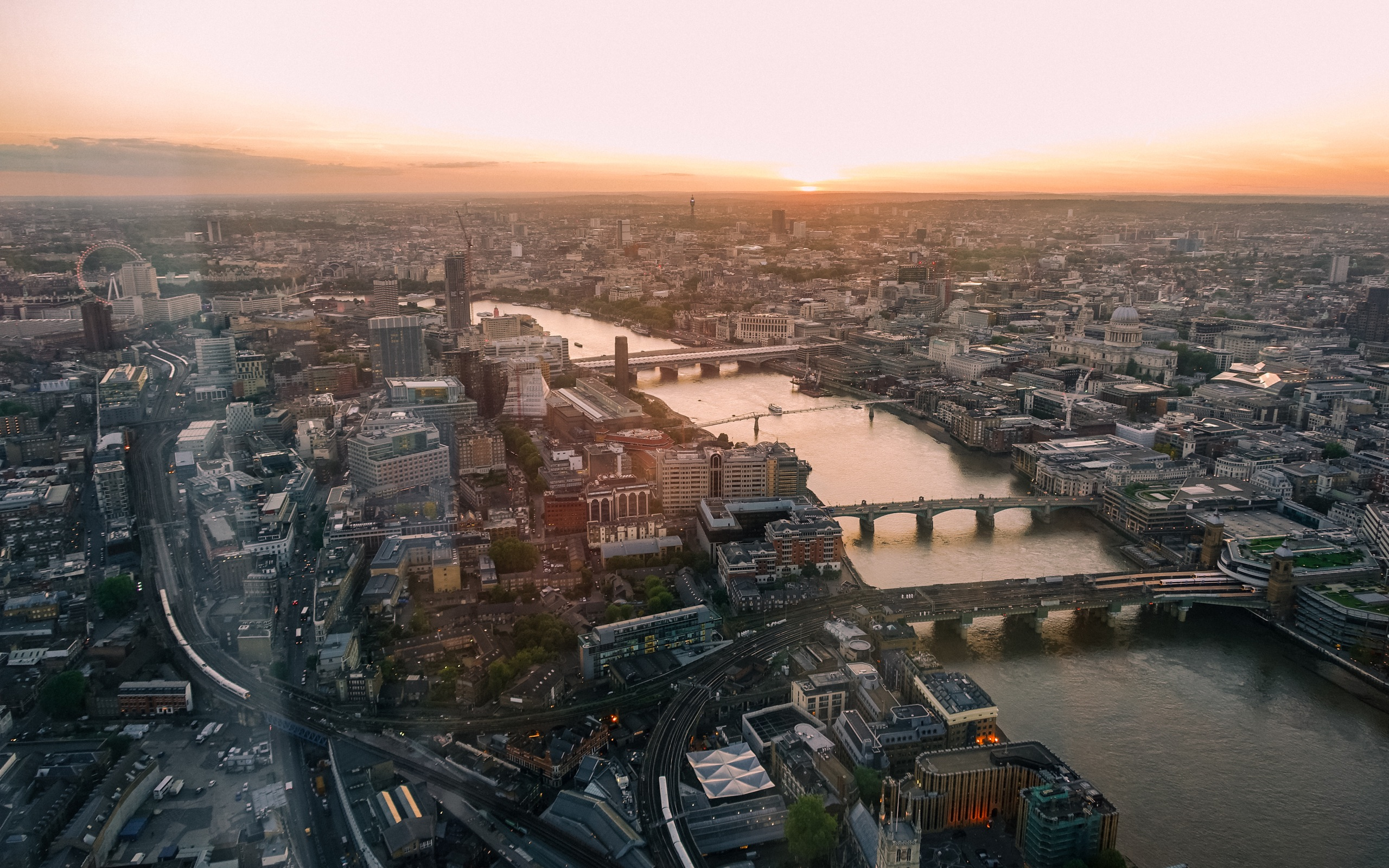 London Eye view from the Shard at sunset