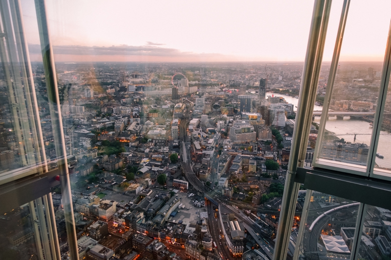 Daytime London Eye view from the Shard in London