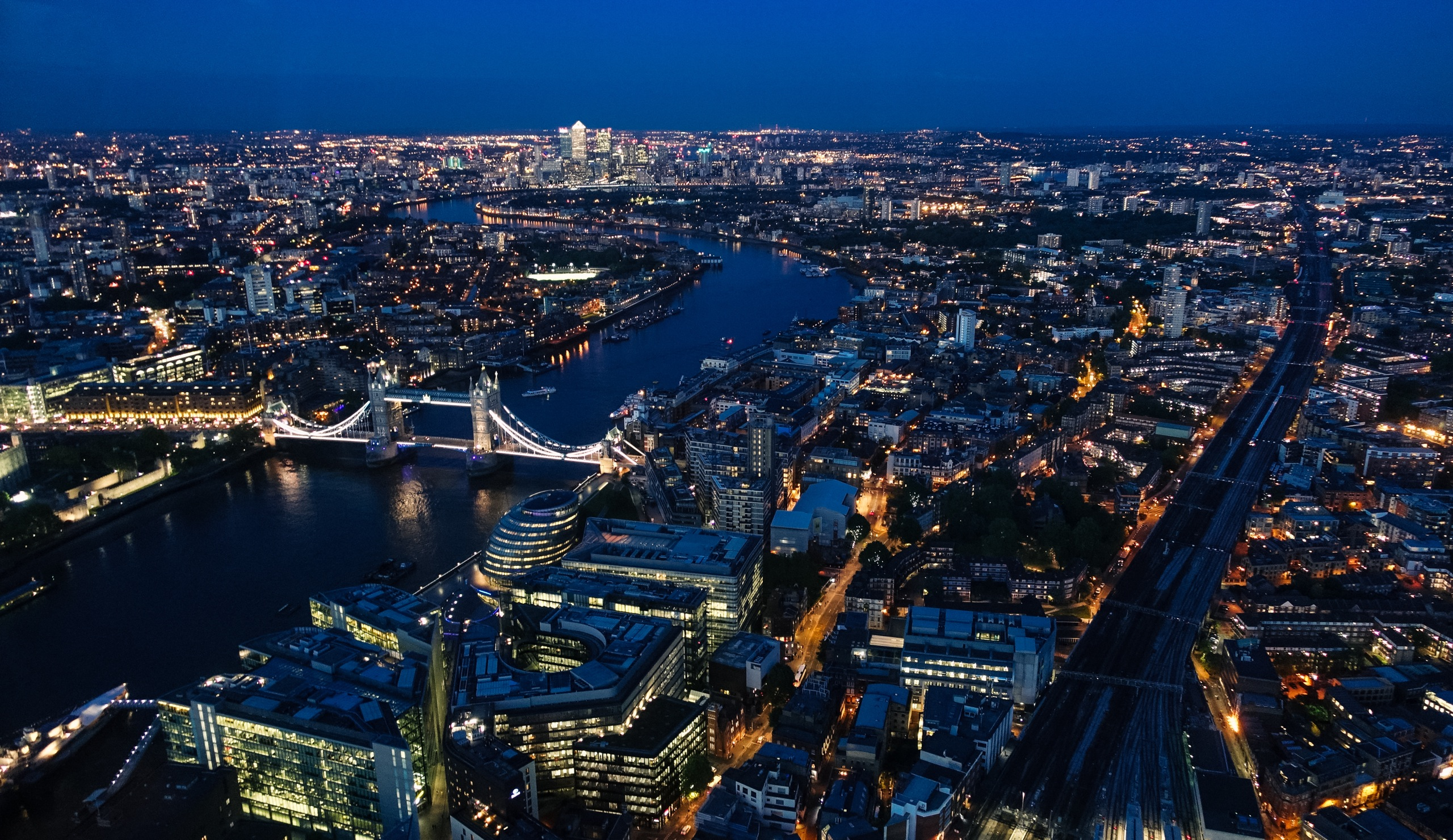 Tower Bridge view from the Shard at night