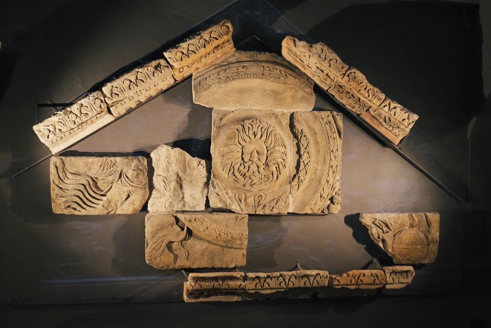 Temple pediment at Roman Baths museum