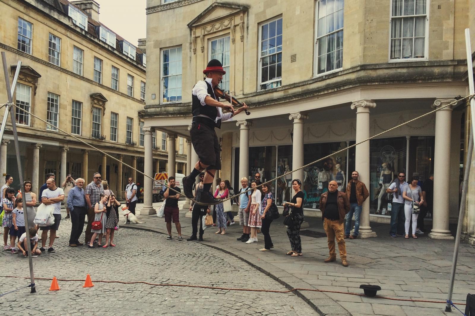 Street performer in Bath, England