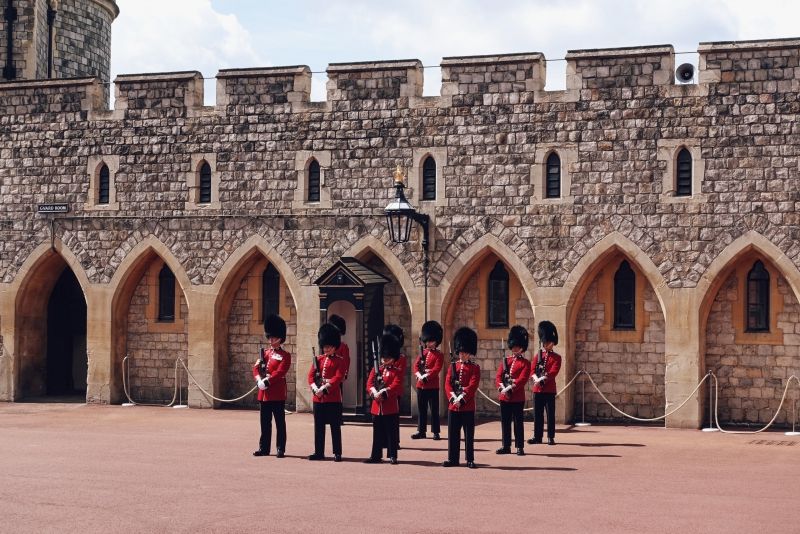 Guards in formation at Windsor Castle