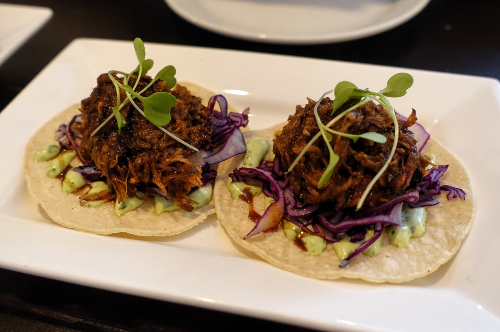 Slow-braised pig's cheek in Pedro Ximenez (Spanish wine) tacos at Condesa in London
