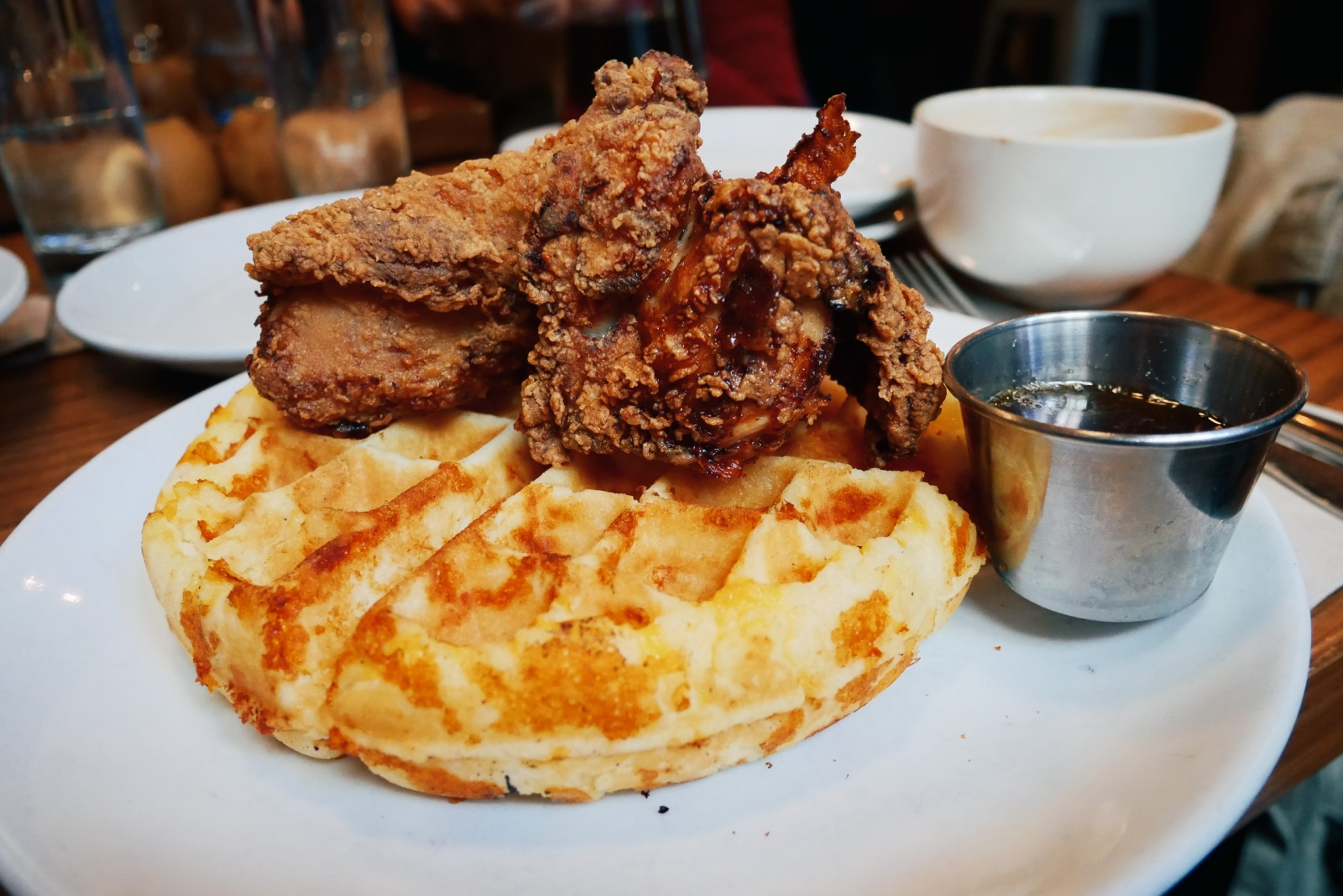 Friedman's fried chicken and cheddar waffle